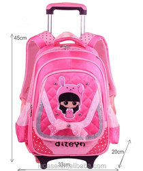 2015 Lightweight Wheeled Cute Polyester Canvas Child Childen Kids Trolley School Bag
