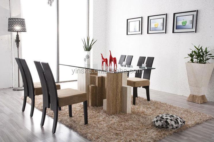 Vidrio moderno y marmol travertino diseños para comedor muebles ...