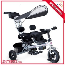 EN71 2 seats children tricycle for twins, children tricycle two seat, double seat children tricycle