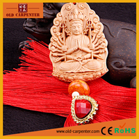 Factory wholesale Boutique boxwood thousands hands Kuan Yin wooden religious car hanging