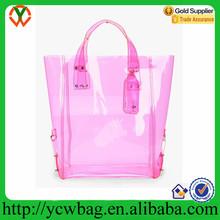 Popular Pink vinyl shopping tote pvc waterproof bag