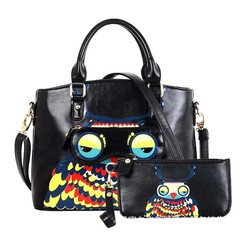 Black Large Carry All Owl Tote Day Bag With Adjustable Strap And Free Purse