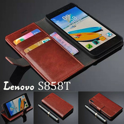 Leather Ultra-thin Wallet Bank Card Holder Bumper Magnetic Flip Stand Cover Case 5.0 Inch For Lenovo S858T