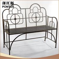 Newest arrival antique indoor decoration iron bedroom bench
