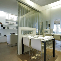 Tempered glass partition for kitchen/living room/bathroom