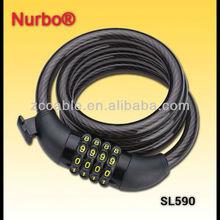 SL590 Nurbo 4 codes spiral combination bike/ebike locks with holder