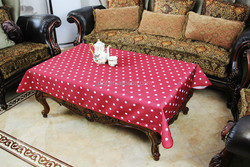 purplish red dot 100% polyester tea table cloth for outside and inside