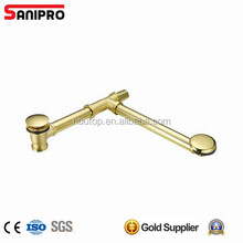 Pop up bath drain set with straight pipe golden plated and decorative overflow cover