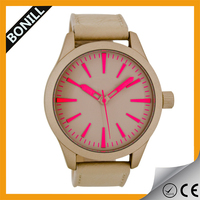 2015 Hot Selling teenage fashion stainless steel case leather watch prices hong kong