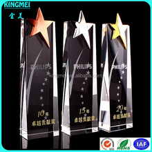 KM-XP46 Wholesale newest gold star with clear crystal,Excellent design crystal trophy in shenzhen
