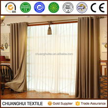 Hot sell ! Classic polyester linen look Stripe sheer curtain