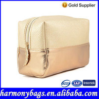 Golden leather girls compact cosmetics small zipper pouch