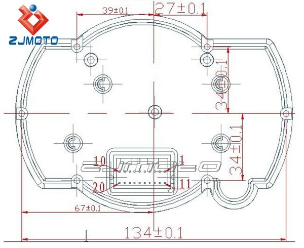 Zjmoto Universal Adjustable Lcd Digital Meter Street Fighters Motorcycle Odometer Speedometer