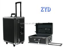 black aluminum trolley case wheeled travel luggage box ZYD-0714
