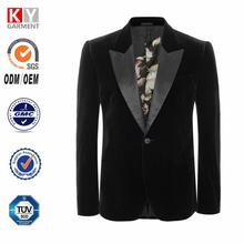 2015 nuevo diseño de moda mercerizado chaqueta de terciopelo traje para el hombre