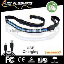 Solar charging dog leash USB rechargeable LED lead / nylon dog chain