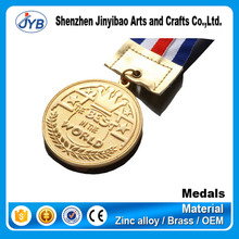 high quality arts and craft gold round medal ribbon