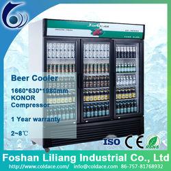 Glass door beer fridge for supermarket cooler
