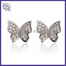High Class Earring Findings Wholesale with Butterfly Shape,Diamond Earring For Braid Wedding