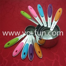 JTB032 18-8 stainless steel colored silicon handle measuring spoon and cups