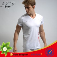 Shark Fashion plain white t shirts wholesale sexy undershirts cotton men's t shirt