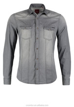 Washed Cotton Denim Long Sleeve Shirt for Men-Grey