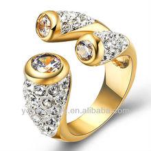 Beautiful crystal cuff yellow gold ring