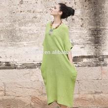 2015 de estilo occidental 100 ropa de manga corta para mujer vestido de los últimos diseños