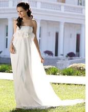 2015 strapless atacado faixa de praia chiffon flores de tecido para vestidos de noiva