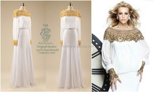 Cheap Vestidos White Chiffon Sheath Long Sleeves Evening Dresses Formal Gown F&MG19