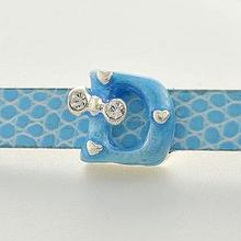 "hot sale blue enamel ""D"" letter 8mm slide charms alphabet sliders for bracelets"