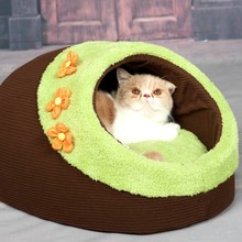 Brown Thick Full Polar Fleece Cave Cat Dog Bed