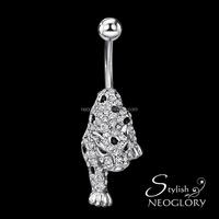 Wholesale Enameling Cute Charm Leopard Navel Belly Button Czech Rhinestone Alloy Body Piercing Jewelry