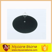 Black Slate Stone Serving Tray/ Plate / Cup dinnerware with stainless steel handles