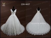 22A-443T High Quality Lace Straps Deep V-neck Wedding Dress Long Tail