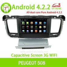 LSQ wholeasales capacitiva Android 4.2 peugeot 508 del coche auto radio gps OBD 3 G WiFi Multi táctil de la CPU 1.5 GHZ ROM 8 G