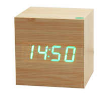 2015 hot selling cube digital LED wooden desk clock with alarm