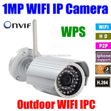 P2P ONVIF Wifi waterproof megapixel Day&Night IR Home Network IP camera Outdoor Wireless security camera 720p hd SD Card slot