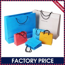 Factory price custom made paper shopping bags wih handles, cheap paper shopping bags