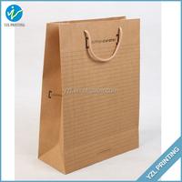 Brown kraft paper print durable bag for shopping