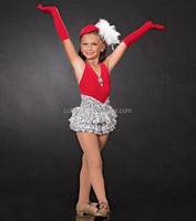 MBQ326 Red silver fluffy teen girl lyrical jazz puffy nude child dress costume