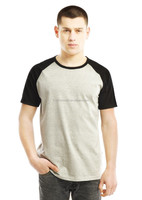 Mens china stock raglan short sleeve O neck ringspun cotton two tone color tee-shirts online shopping