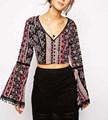 nova moda ciganos imprimir blusa manga sino