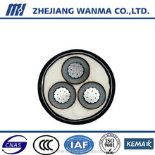 3 core aluminum strand round compacted electrical cable