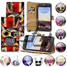 mobile phone accessory for wiko stairway case, wallet stand printed pu leather flip case for wiko stairway