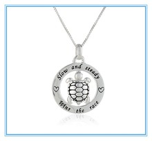 """Silver Circle """"Slow and Steady Wins The Race"""" with Turtle Pendant Necklace, 18"""""""