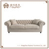 Modern Classic French Style Living Room Tufted Linen Fabric Chesterfield Sofa