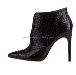 Black snake leather pointed toe sexy high heel ankle dress boots