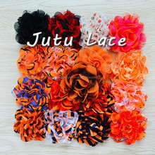 "Halloween - Orange / Black Lace - Large 3.75"" Chiffon & Lace Flower -hair accessories"