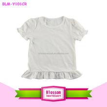 New style ! Plain solid white puff sleeve baby fashion fresh soft organic cotton baby ruffle t-shirt
